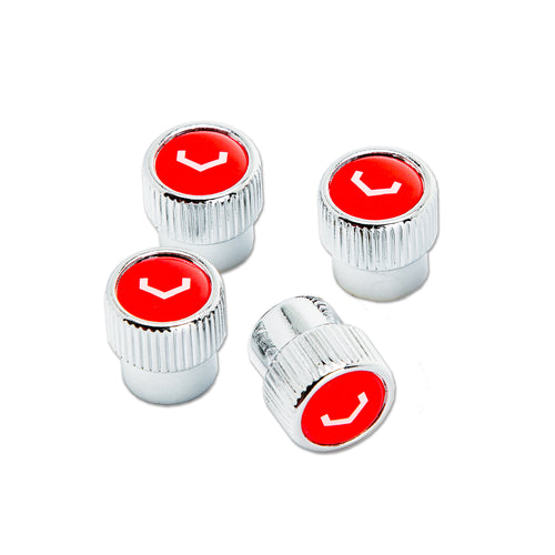 Classic V Valve Stem Cap Set (Chrome/Red)