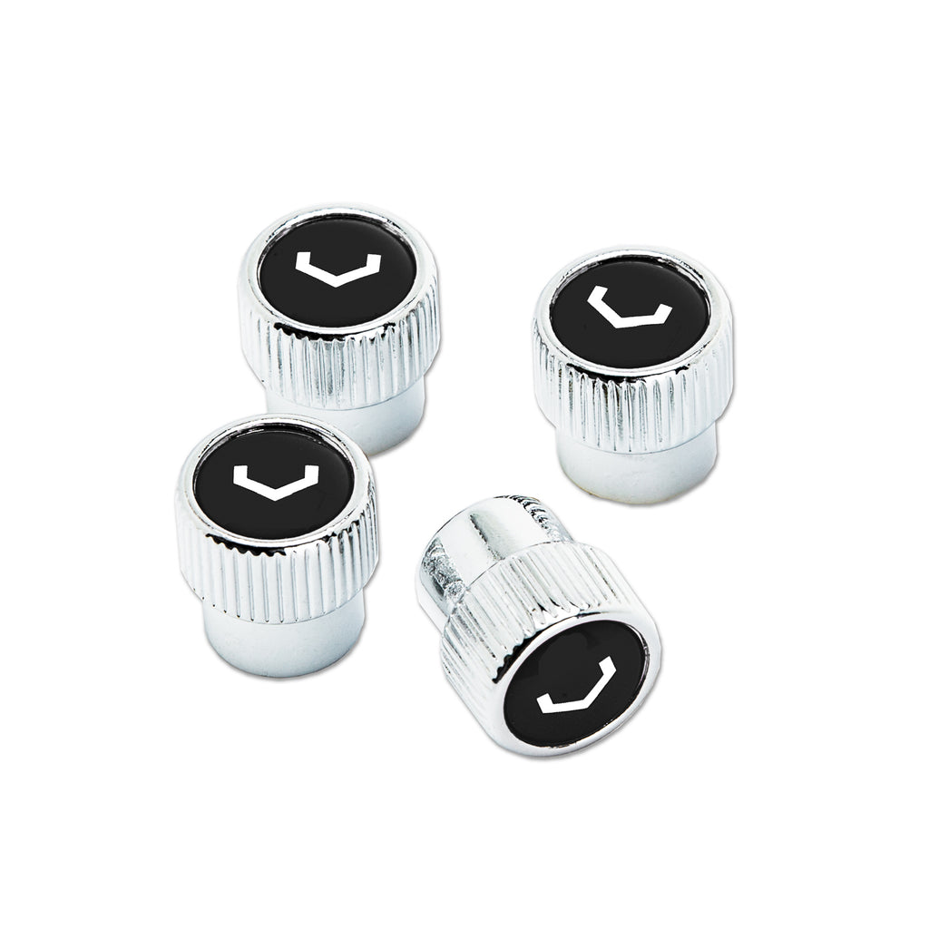 Classic V Valve Stem Cap Set (Chrome/Black) - Vossen