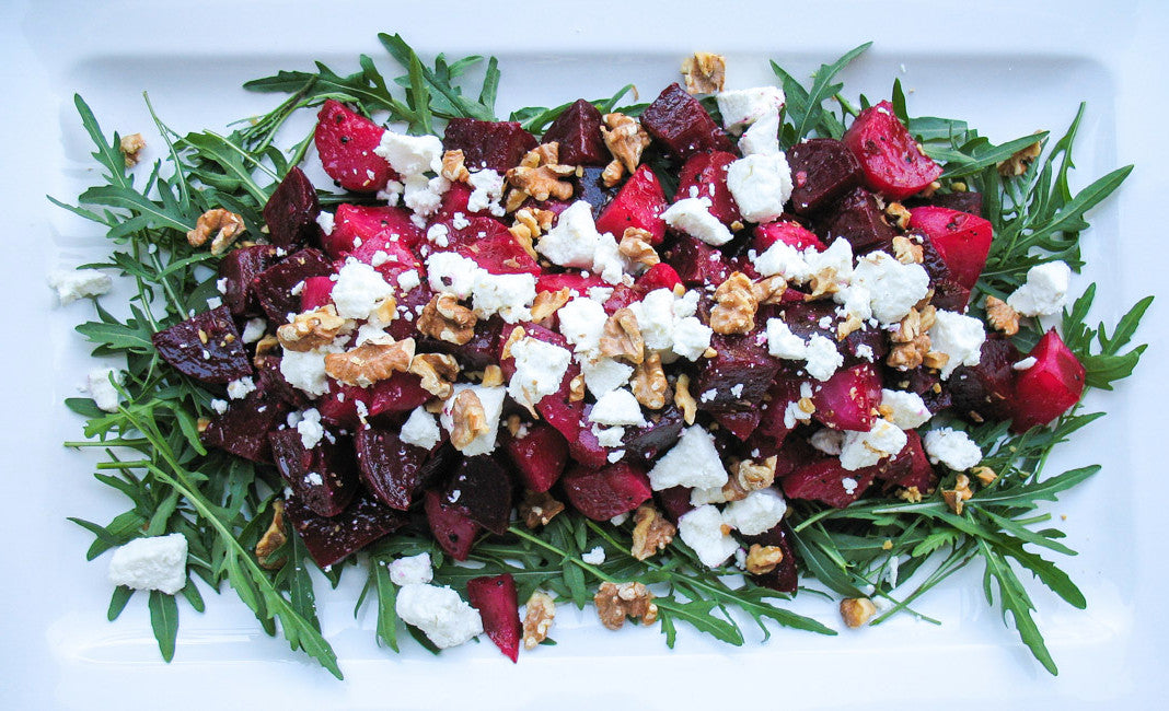 Christmas inspired vegetarian beet and goat cheese salad
