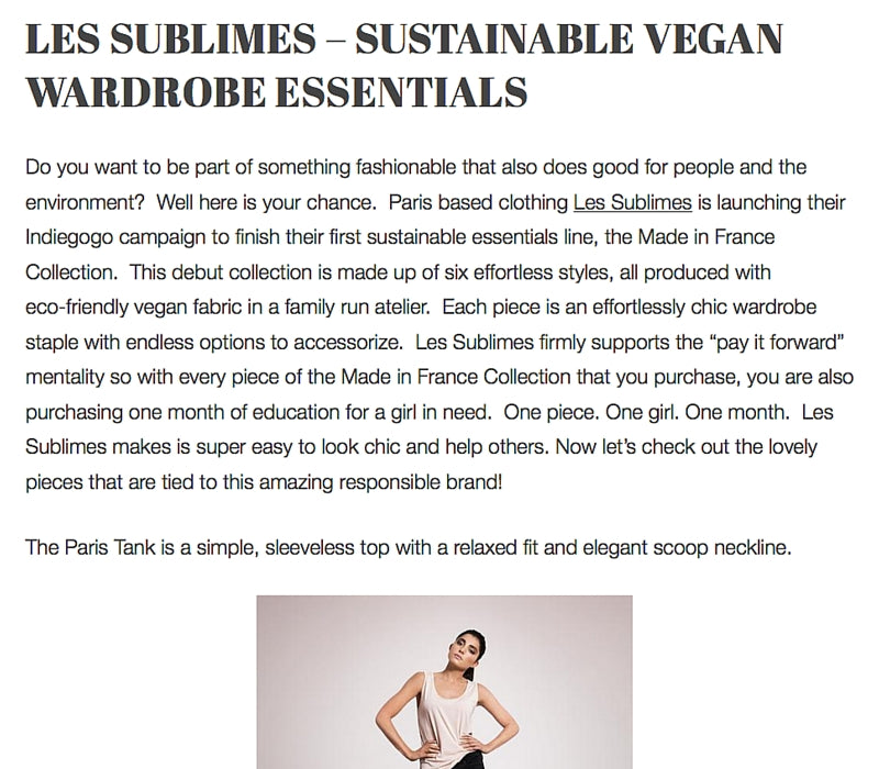 Fashion Victimless - Les Sublimes, Sustainable Vegan Wardrobe Essentials, June 2016