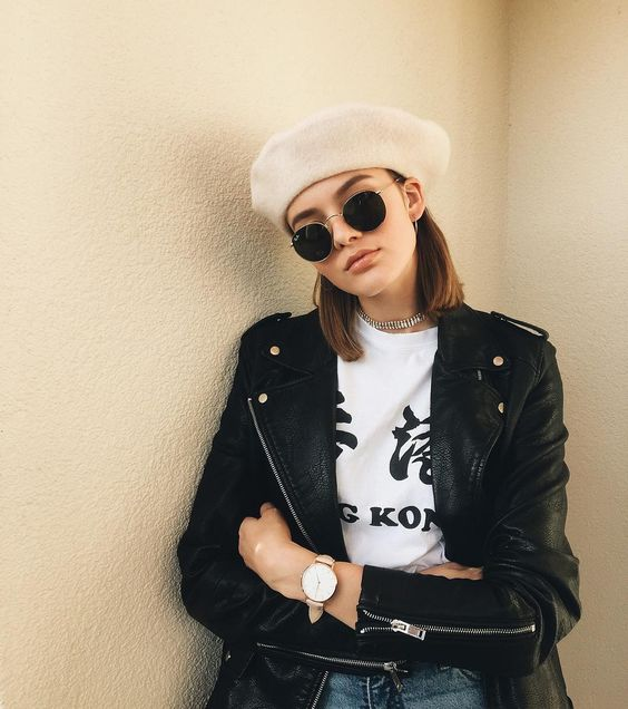 Style your beret with a leather jacket