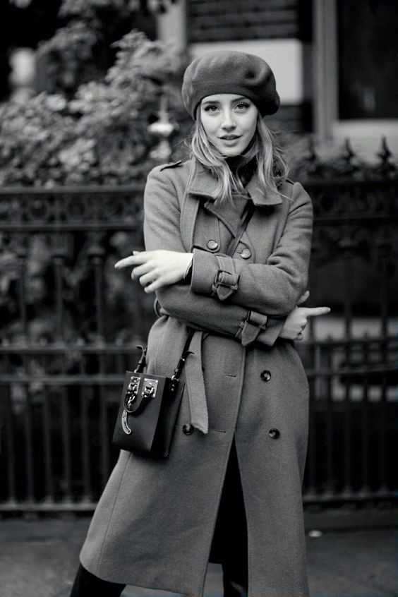 Style your beret with a classic trench coat