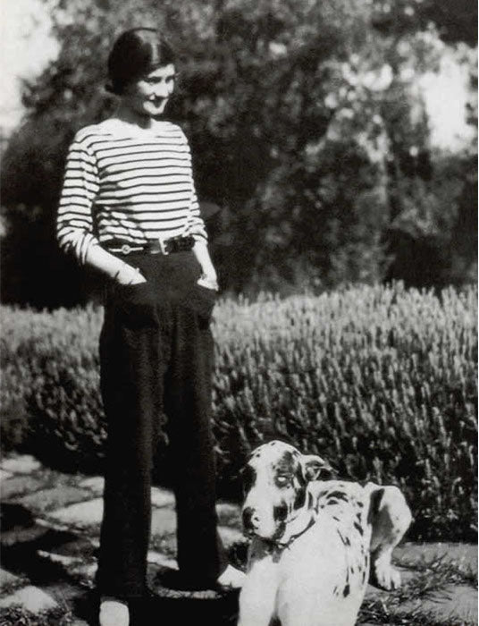 Coco Chanel wearing sailor stripes