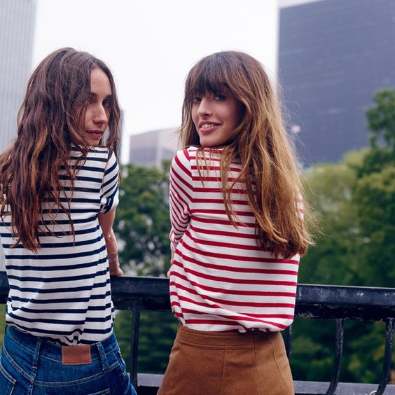 Navy and Red Breton Stripes