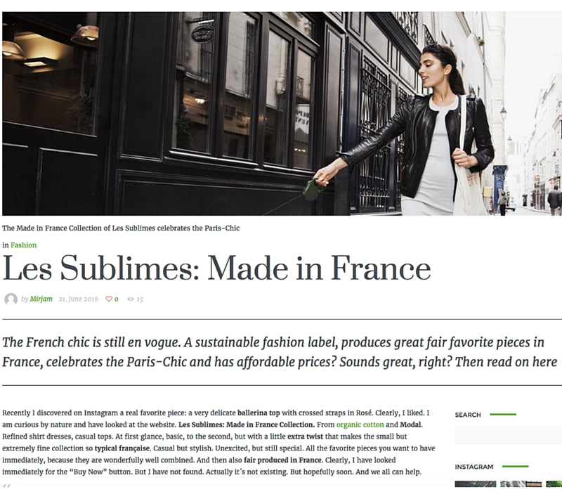 My Green Style – Les Sublimes: Made in France, June 2016