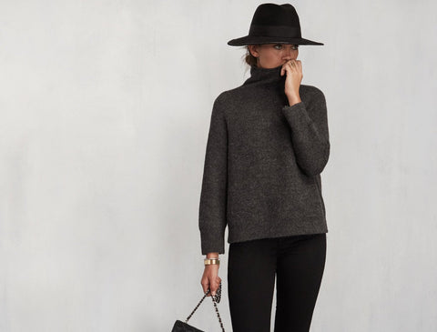 Reformation Abbey Sweater Alpaca Charcoal