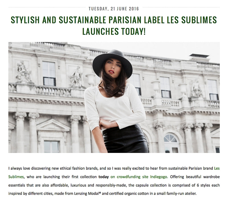 The Green Scene - Stylish and Sustainable Parisian Label Les Sublimes Launches Today, June 2016