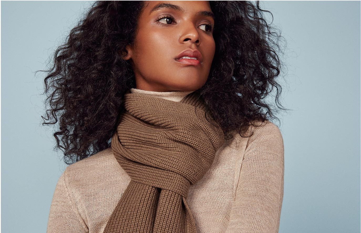 The Reformation Cashmere Scarf in Caramel