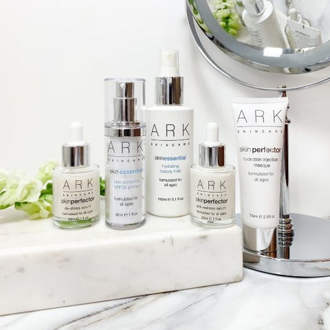 ARK Skincare's Sensitivity & Redness collection full of products suitable for sensitive skin on a bathroom counter. Vegan friendly.