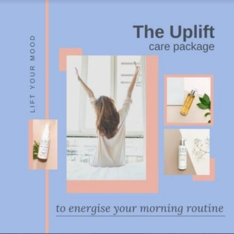 Mood board of the Uplift Care Package artwork with products and an image of a girl stretching as she gets out of bed. Title:  Energise your morning routine.