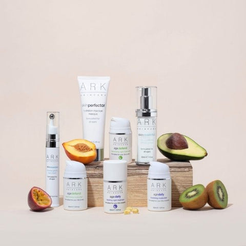Product Image: A group shot of ARK Skincare's award winning products and their active ingredients