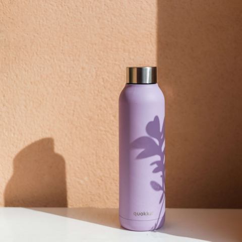 Image: Reusable stainless steel purple coloured water bottle.