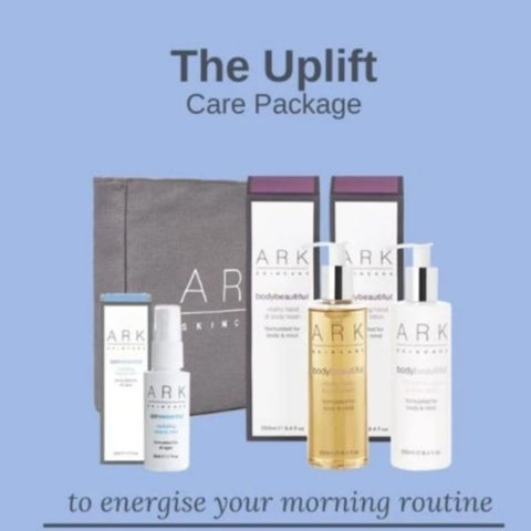 Product Image: ARK Skincare's Uplift Care Package including: ARK Skincare Travel bag, Mini Hydrating Beauty Mist, Vitality Body Wash & Hand and Nail Cream