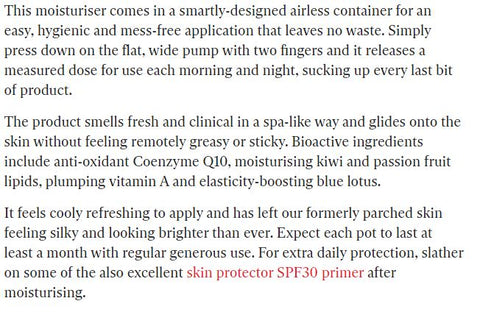 ARK Skincare's Age Defend Moisturiser featured in Indy best buy - The Independent