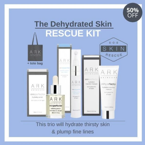 Image: ARK Skincare's Dehydrated Skin Rescue Kit Artwork, including images of ARK's hydrating serum, hydration injection masque and eyecream with a tote bag
