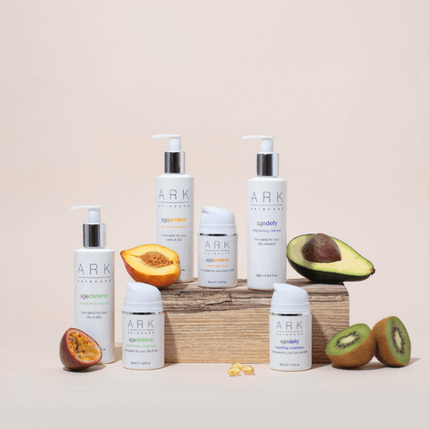 Image: Group shot of ARK Skincare's Age intelligent cleansers with ingredients