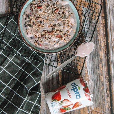 Breakfast bowl made with Vegan strawberry yogurt by plant-based brand  Alpro