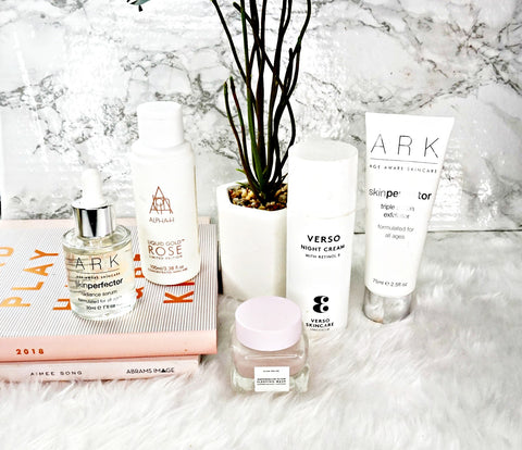 Selection of different skincare products from different brands