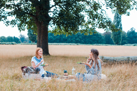 Image: Two ladies sat on a picnic blanket in a corn field