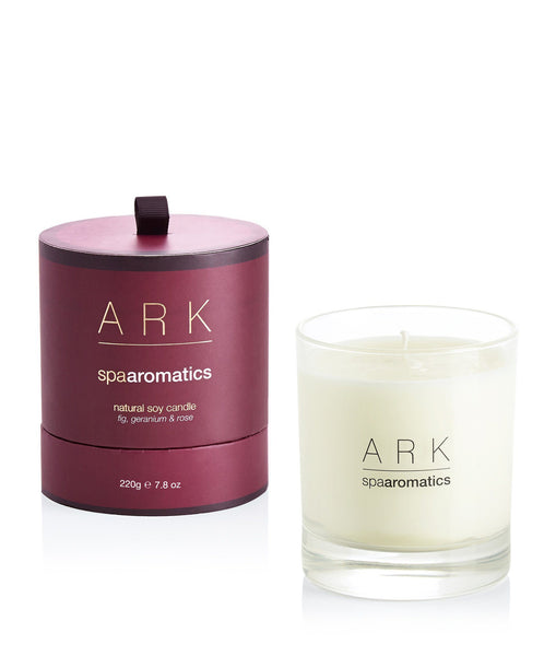 Balance your mood and relax with the scent of ARK's Fig, Geranium and Rose Candle.