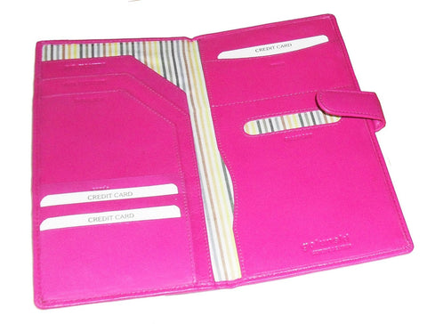 Pink Leather Travel Wallet With Tab - Just4ugifts Limited - 1