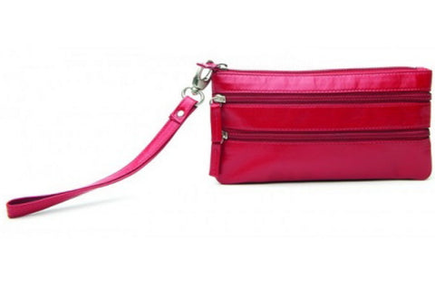 Red Soft Leather Ladies Wrist Bag - Just4ugifts Limited