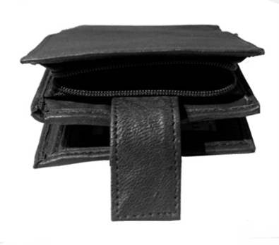 Leather Wallet with Side Zip Pocket - Just4ugifts Limited - 1