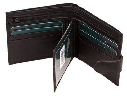 Soft Calf Hide Mens Black Leather Wallet - Just4ugifts Limited - 1
