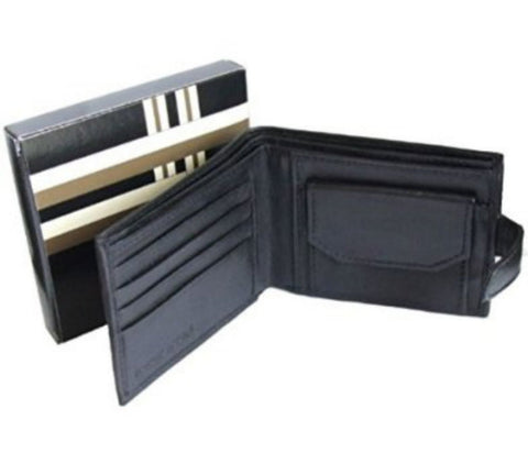 Black Leather Wallet with Card Note Coin Pocket - Just4ugifts Limited - 1