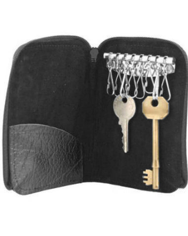 Black Leather Key Holder Case 8 keys - Just4ugifts Limited - 1