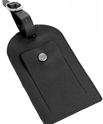 Black Leather Luggage Tag - Just4ugifts Limited - 1