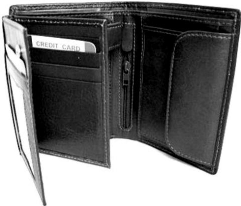 Black Leather Large Notecase Wallet - Just4ugifts Limited - 1
