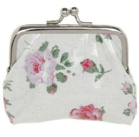 Oilskinned Floral Cream Purse - Just4ugifts Limited