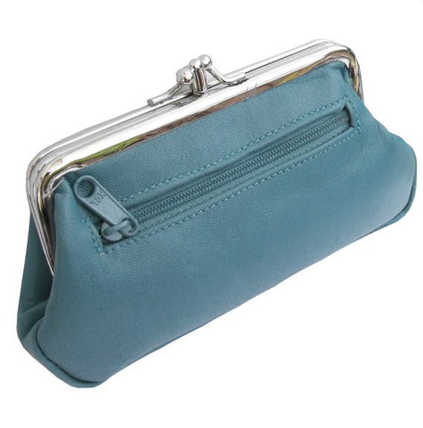 Turquoise Pouchy Clip Top Coin Purse - Just4ugifts Limited - 1