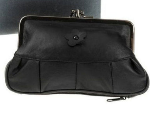 Leather Black Clip Top Flower Purse - Just4ugifts Limited - 1