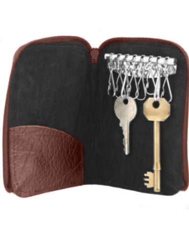 Brown Leather Key Holder Case 8 keys - Just4ugifts Limited - 1