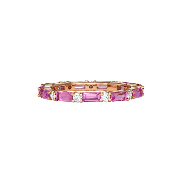 Stackable single rose gold ring surrounded by pink sapphire gemstones and diamonds around the entire band.