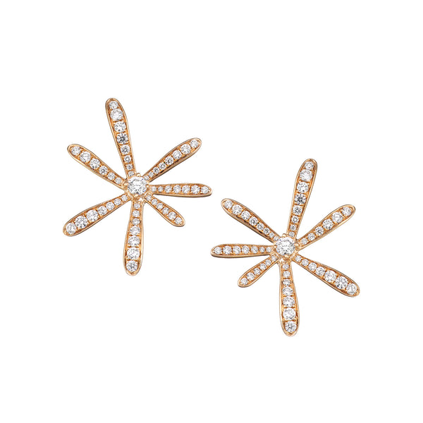 Rose gold flower earring with a large centered diamond surrounded by smaller diamonds on each end.
