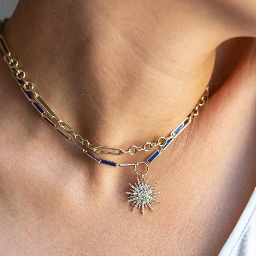 Lapis Chain Necklace in Yellow Gold with a Gold Star Charm covered in Diamonds.