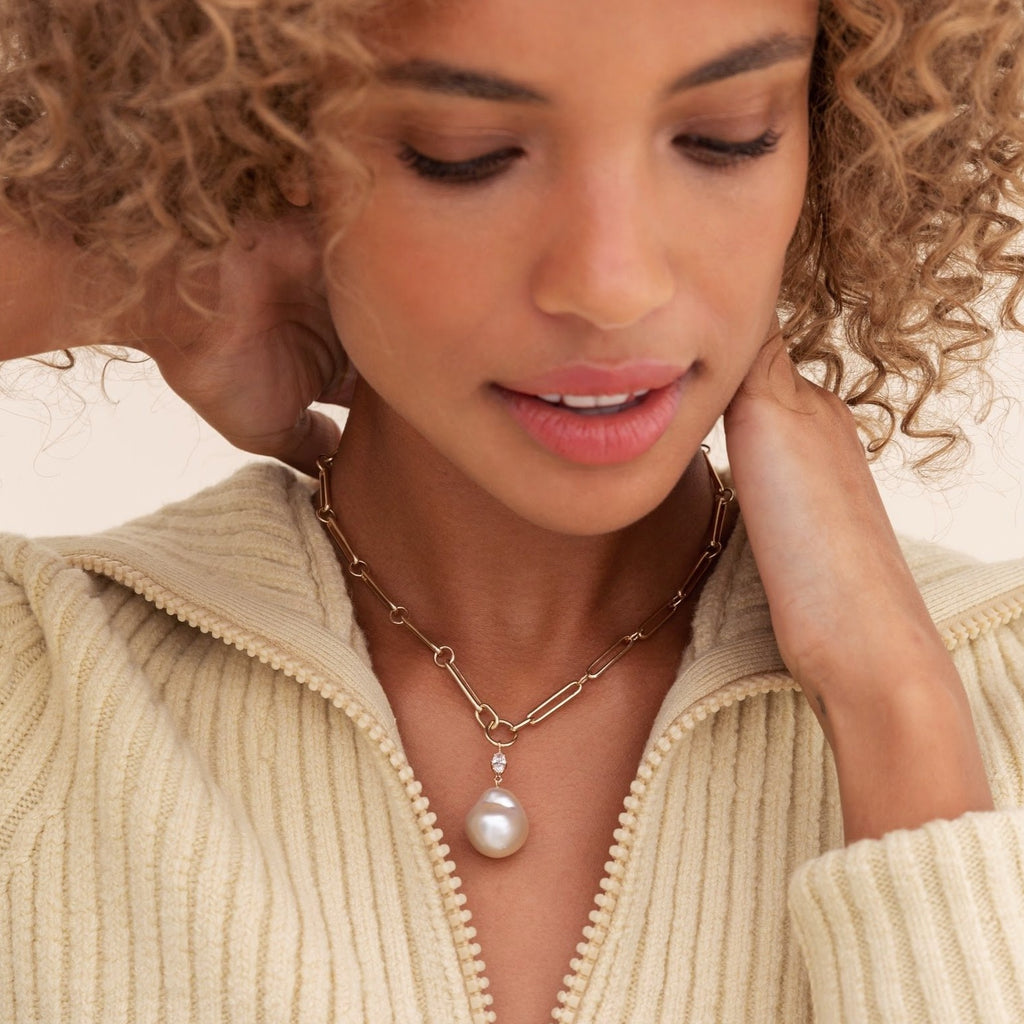 yellow gold chain necklace with pearl and diamond charm