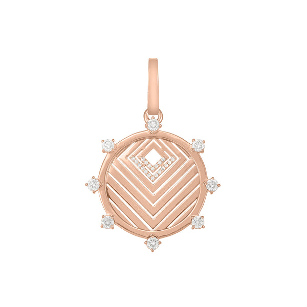 Rose gold chevron pendant with diamond pavé
