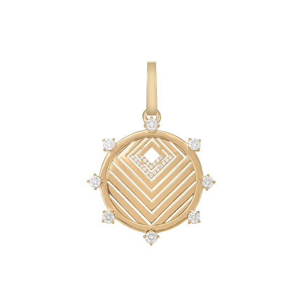 Yellow Gold Chevron Pendant with Diamond pavé