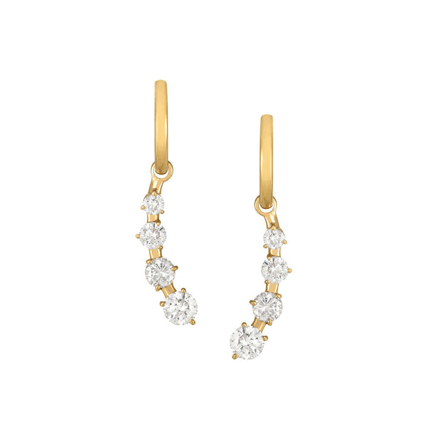 Graduated Drop Earrings in Yellow Gold with Diamonds.