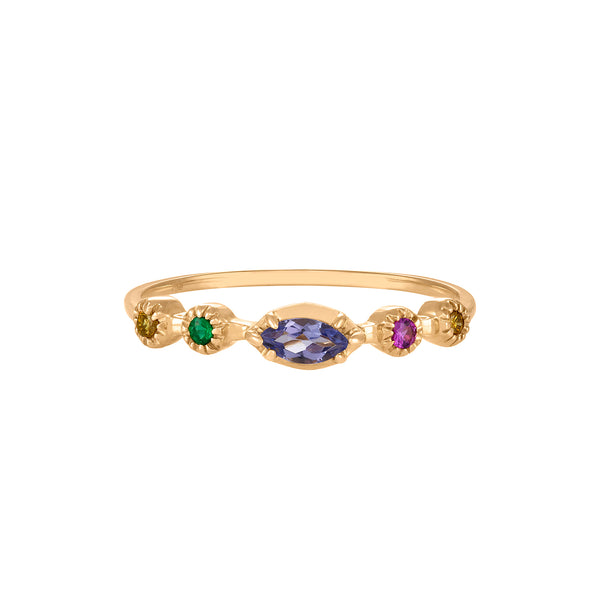 Five Stone Band Ring in Yellow Gold with Purple Sapphire, Pink Sapphire, Emerald and Diamonds.