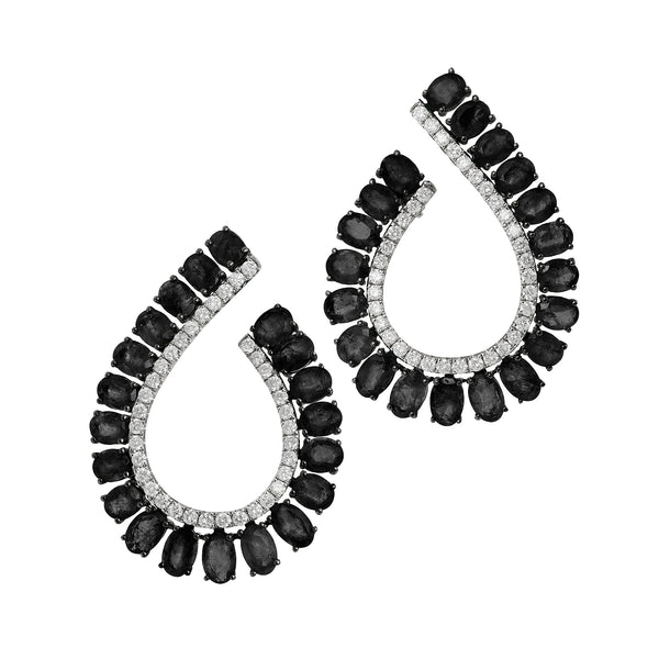 Royal Large C Earrings in White Gold with Ebony and Diamonds.