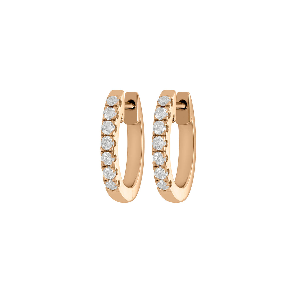 Myer Small Diamond Hoop Earrings in Yellow Gold with Diamonds.