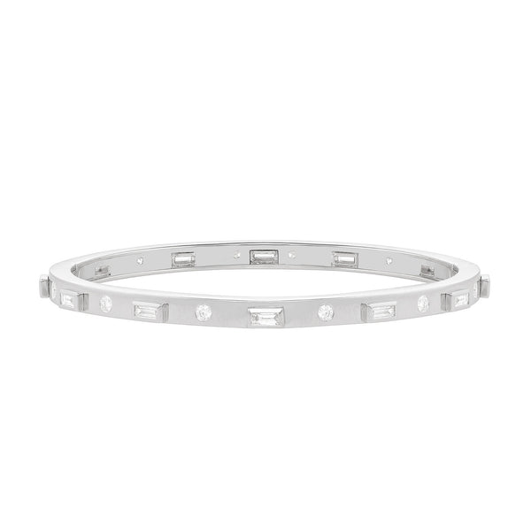 Orin Thin Geometric Cuff Bracelet in White Gold With Baguette and Round Diamonds around the band.