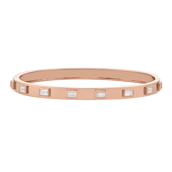 Geometric Cuff Bracelet in Rose Gold with Baguette Diamonds.