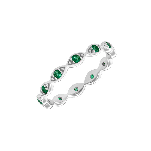 Portia Eye Band Ring in White Gold with Emeralds.