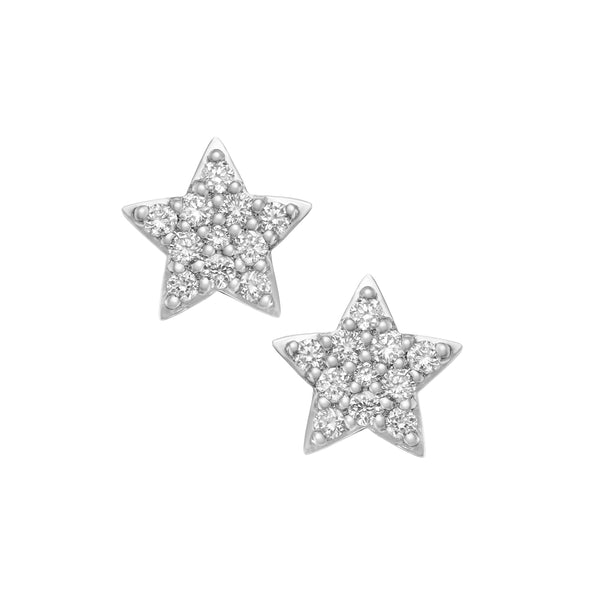 Myer Star Stud Earrings in White Gold with Diamonds.